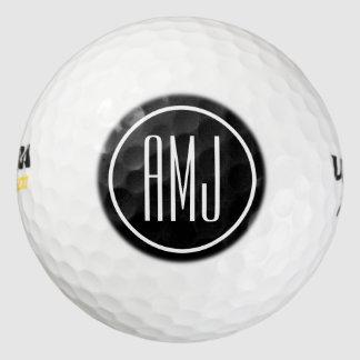Monograma blanco y negro del personalizar pack de pelotas de golf