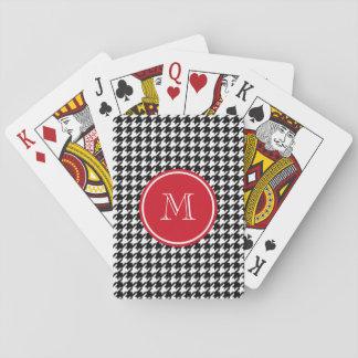 Monograma blanco y negro del rojo de Houndstooth Baraja De Póquer