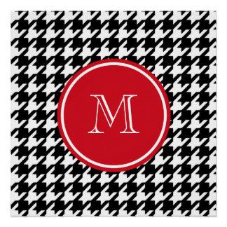 Monograma blanco y negro del rojo de Houndstooth Perfect Poster