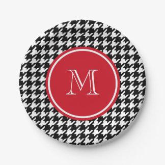 Monograma blanco y negro del rojo de Houndstooth Plato De Papel De 7 Pulgadas