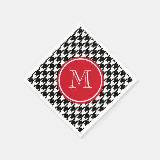Monograma blanco y negro del rojo de Houndstooth Servilletas De Papel