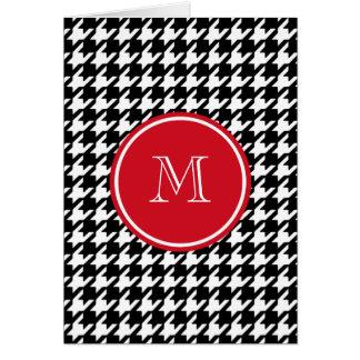 Monograma blanco y negro del rojo de Houndstooth Tarjeta Pequeña