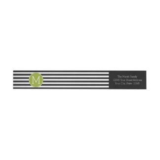Monograma blanco y negro del verde del modelo etiquetas envolventes de remitente
