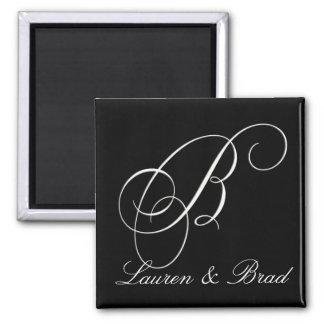 Monograma blanco y negro elegante - B inicial Imán Cuadrado