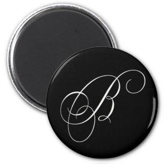 Monograma blanco y negro elegante - B inicial Imán Redondo 5 Cm