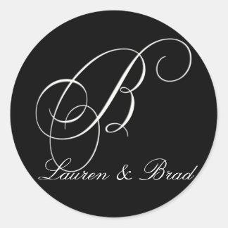 Monograma blanco y negro elegante - B inicial Pegatina Redonda