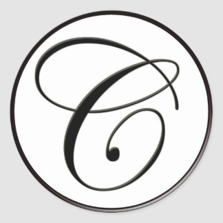 Monograma blanco y negro elegante C Pegatina Redonda