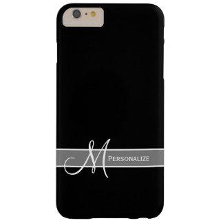 Monograma blanco y negro elegante con nombre funda barely there iPhone 6 plus