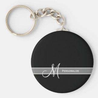 Monograma blanco y negro elegante con nombre llavero redondo tipo pin