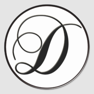 Monograma blanco y negro elegante D Pegatinas Redondas