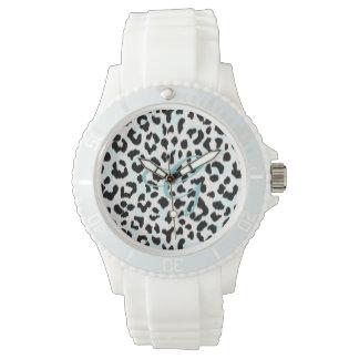 Monograma blanco y negro elegante de la impresión relojes de mano