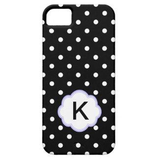Monograma blanco y negro elegante de los lunares iPhone 5 Case-Mate cárcasas