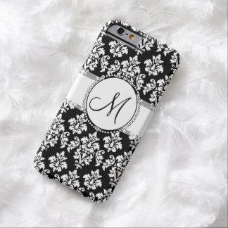 Monograma blanco y negro elegante del modelo del funda de iPhone 6 barely there