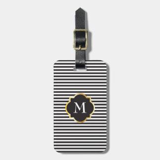 Monograma blanco y negro elegante del oro de la etiqueta para equipaje