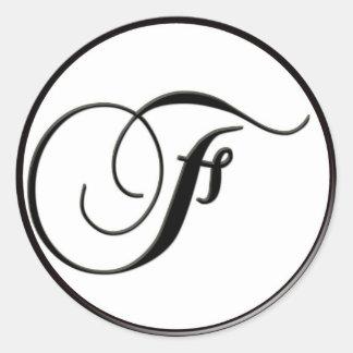 Monograma blanco y negro elegante F Pegatina Redonda