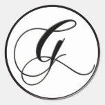 Monograma blanco y negro elegante G Pegatina Redonda