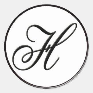 Monograma blanco y negro elegante H Pegatina Redonda