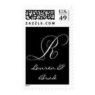 Monograma blanco y negro elegante - R inicial Sello Postal