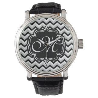 Monograma blanco y negro moderno del zigzag de relojes de pulsera