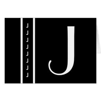 Monograma blanco y negro modificado para requisito tarjeta de felicitación