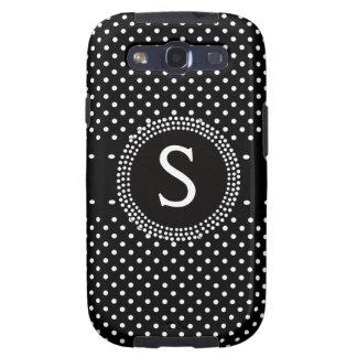 Monograma blanco y negro personalizado de Polkadot Galaxy S3 Funda