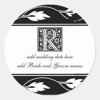 Monograma blanco y negro R de la hoja Pegatina Redonda