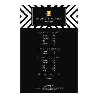"Monograma blanco y negro retro del oro del modelo folleto 5.5"" x 8.5"""