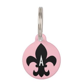 Monograma blanco y negro rosado de la flor de lis placas de mascota