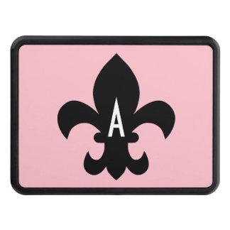 Monograma blanco y negro rosado de la flor de lis tapas de remolque