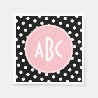 Monograma blanco y negro rosado del lunar servilleta de papel