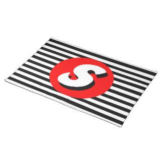 Monograma blanco y negro S. de las rayas Mantel Individual