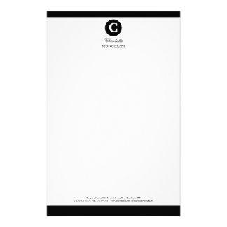 Monograma blanco y negro simple papelería