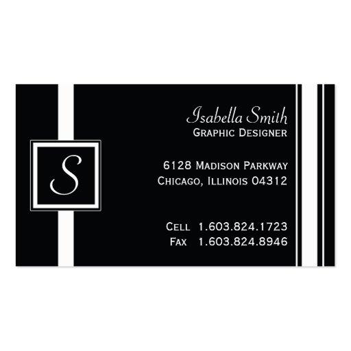 Monograma blanco y negro simple tarjetas de visita