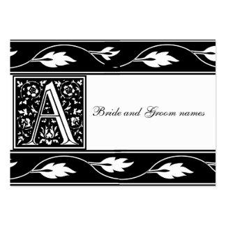 Monograma blanco y negro tarjetas nupciales de un tarjetas de visita grandes