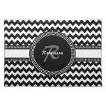 Monograma blanco y negro ultra elegante de Chevron Manteles Individuales