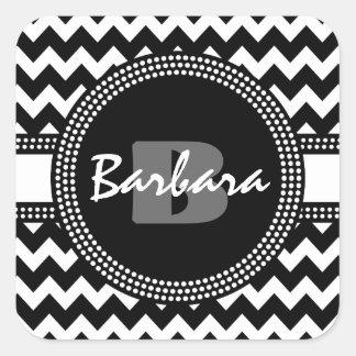Monograma blanco y negro ultra elegante de Chevron Pegatina Cuadrada
