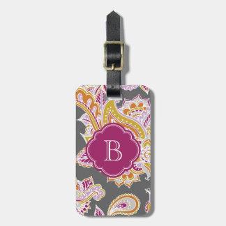 Monograma bohemio colorido del personalizado de la etiqueta de maleta