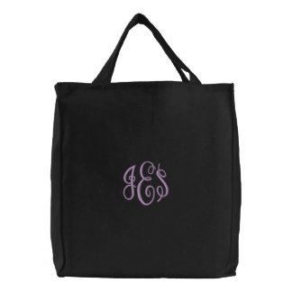 Monograma bordado escritura púrpura bolsas