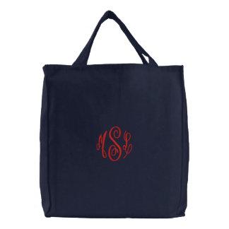 Monograma bordado escritura roja bolsas de lienzo