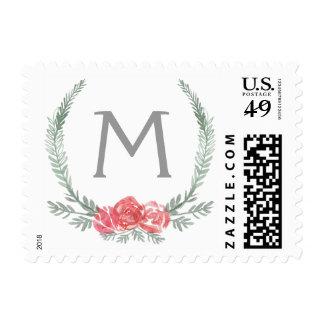 Monograma botánico rojo y verde del día de fiesta timbre postal