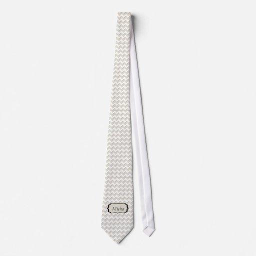 Monograma brillante blanco blanco y antiguo de corbatas