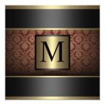 Monograma Brown, negro y oro Invitaciones Personalizada