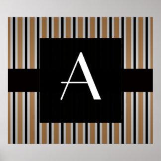 Monograma Brown y rayas negras Poster