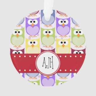 Monograma - búhos coloridos - púrpura azulverde