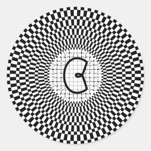 Monograma C de la ilusión óptica Pegatina Redonda