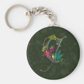 Monograma C del colibrí Llavero Personalizado