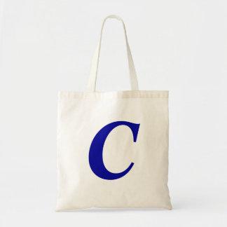 Monograma C en tote inicial de encargo azul Bolsa Tela Barata
