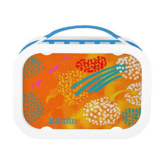 Monograma, caja del almuerzo del arte abstracto de