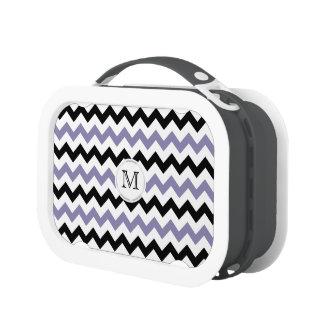 Monograma: Caja del almuerzo púrpura y negra de Ch