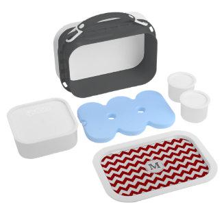 Monograma: Caja del almuerzo roja y blanca de Chev